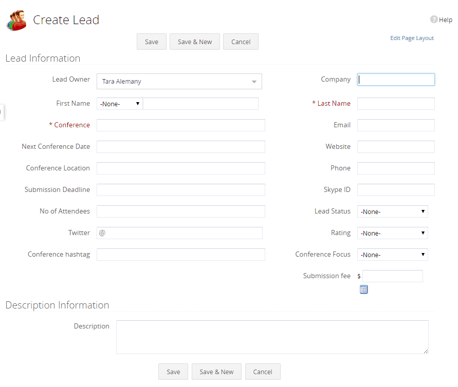 Create a lead in Zoho CRM