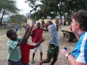 Tara Alemany, the Bubble Lady, having fun in Tanzania
