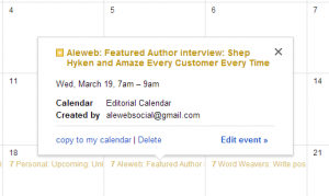 Editorial calendar - Featured Author example