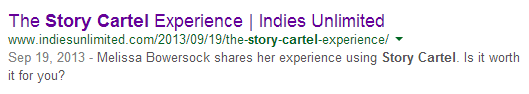 Alternate Google Result for Story Cartel Search