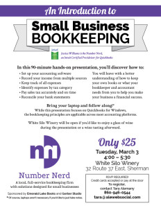 Introduction to Small Business Bookkeeping workshop